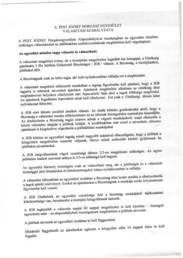 Pest József Választási szabályzat